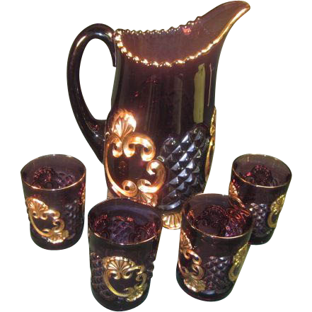 Croesus Amethyst  Pitcher and 4 glasses by Riverside Glass Co