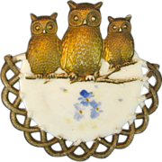 Westmoreland Milk Glass Owl Plate