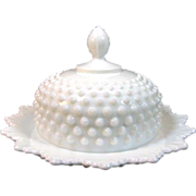 Fenton Milk Glass Hobnail Round Covered Butter