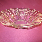 "Fostoria ""Meadow Rose"" 11"" Fared Bowl"