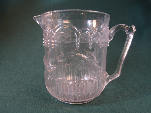 Fish and Swan Pressed Glass Milk Pitcher
