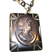 Bakelite Cameo with Celluloid Chain