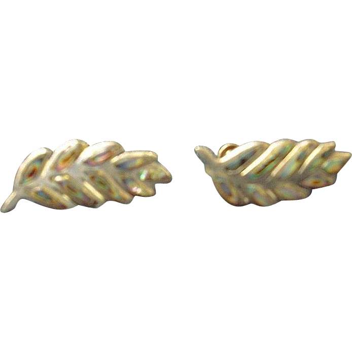 Sterling and Mother of Pearl Earrings Fern Leaf shape