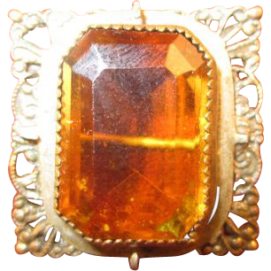 Victorian Amber Crystal and Filigree Pin