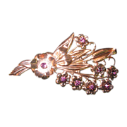 Sterling Vermeil w/ Purple Rhinestones Brooch