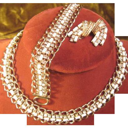 Hattie Carnegie Necklace, Bracelet and Clip Earrings