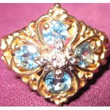 Blue Topaz 10 KT Gold Ring