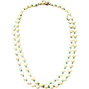 Hobe Faux Pearl and Green bead necklace with rhinestone 1965