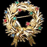 Trifari Christmas Wreath Pin