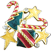 Christmas Pin with Stars, Tree, Candy Canes and Ornaments