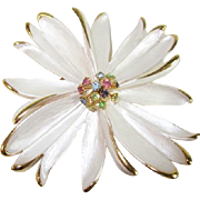 Park Lane Floral, White Enamel and Multi-color Rhinestone Pin