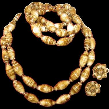 Trifari Green Necklace, Bracelet and Earrings Set