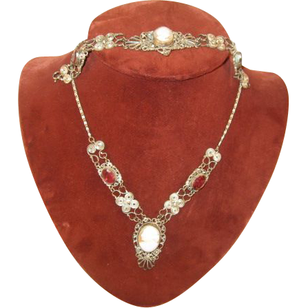Cameo Necklace and Bracelet with pink stones