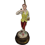Figurine Lamp of Young Frenchman in 18th Century Clothes enjoying the company of his Bird