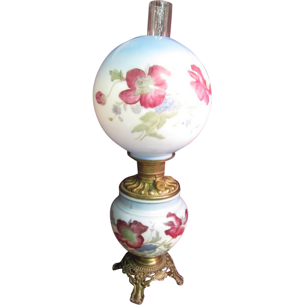 """""""Gone with the Wind""""  Lamp P & A Royal with hand painted shade"""