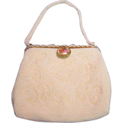 White Beaded Purse made in France for Walborg