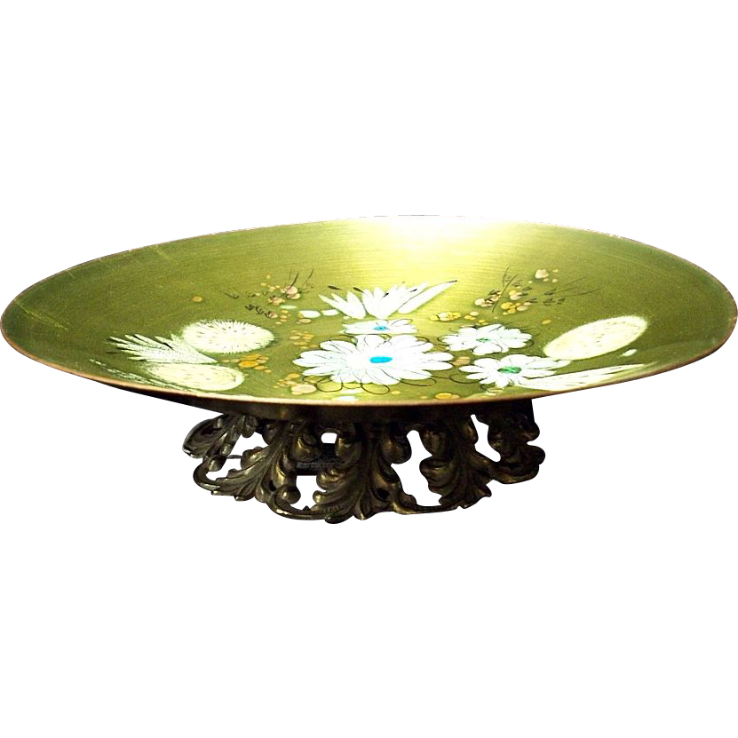 "Sascha Brastoff 10 1/4"" Bowl on Brass Pedestal"