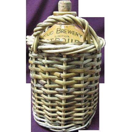 The Stroud Brewery Co. Jug in Wicker Basket w/original cork, Barware
