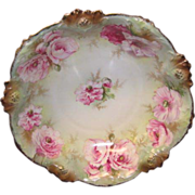 "R. S. Prussia Bowl w/pink Flowers, ""Red Star"""