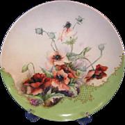 Haviland Limoges Poppy Chop Plate Artist Signed