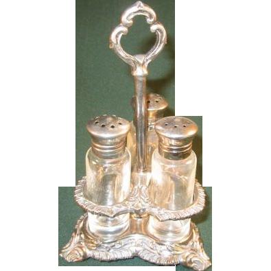 Vintage Salt, Pepper and Sugar Shakers in Silverplate Caddy