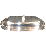 Oneida Silverplate Covered Butter with Glass Dish