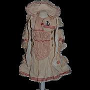 Wonderful Doll Dress and Matching Hat Bonnet For Bebe Jumeau W/ Bebe Jumeau Tag Strip Sweet Sailor Dress