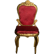 Old Doll Wood Gold Chair Ornate Miniature Dollhouse