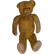 "Old Teddy Bear Jointed  22"" Tall Flat Feet Wonderful Face Doll Friend"