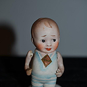 Old Bisque Doll All Bisque Dolly Doll Fat Belly W/ Old Paper Label Miniature Dollhouse