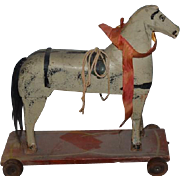 Old Wonderful Wood Horse Pull Toy on Wheels Carved Wonderful Size for Doll