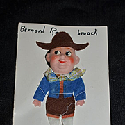 Old Doll Bernard Ravca On Card Brooch 1937 French Signed