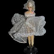 Old Fancy Wax Doll Half Doll Ballerina W/ Legs On Old Stand Boudoir
