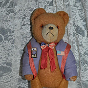 Vintage Teddy Bear Jointed Dressed W/ Old Medals