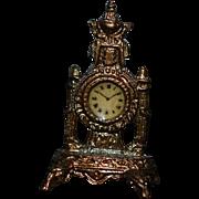 Wonderful Doll Clock Miniature Dollhouse Artist Signed Metal JKM Mantle