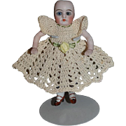Antique Doll Bisque All Bisque Miniature Jointed Dollhouse Double Strap Shoes