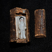 Old Miniature Doll Frozen Charlotte in Miniature Carved out Cork Bed Dollhouse