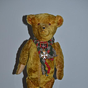 Antique Teddy Bear Doll Friend Mohair Jointed Bear w/ Old Enamel Medal Glass Eyes