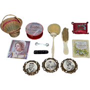 Old Doll Miniature Lot Pictures in Metal Frames Brooch set Miniature Brush Sponge 1913 Calendar Box Pillow Dollhouse Fashion Doll