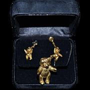 Vintage Steiff Teddy Bear Brooch and Teddy Bear Earrings Jointed Set WONDERFUL Marked