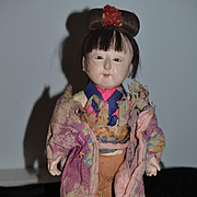Old Doll Oriental Doll In Original Clothing Wonderful Character Ichimatsu Ningyo Unusual Hair Style Papier Mache