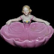 Old Half Doll China Head Trinket Dish Vanity Miniature