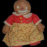 "Antique Doll Black Cloth Doll Beloved Belindy Raggedy Ann & Andy Friend Button Eyes Rag Doll 19"" Tall"