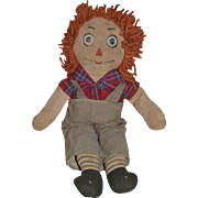 Old Raggedy Andy Cloth Doll Unusual Face Expression Cute Found IN Andrew Tabbat Book