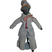 Old Doll Black Cloth Rag Doll Sewn Features Sweet!