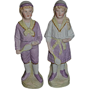 Old Bisque Doll Figurine Set Tennis Player Young Boy and Young Girl Set
