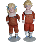 Antique Doll Dolls Bisque Miniature Dollhouse Girl and Boy Charming Set
