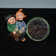 Old Doll Max and Moritz Cast Metal Nodder w/ Mirror Miniature Doll Set