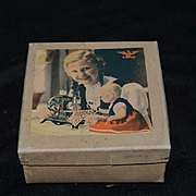 Antique Doll MINIATURE sewing Machine Cast Iron Fancy w/ Original Box Child's Working TINY perfect for French Fashion