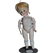 Antique Doll Miniature All Bisque Jointed Glass Eyes Sweet Swivel Neck